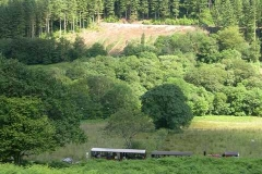 The 15.40 ex.-Maespoeth heads towards Corris, while the fresh scars from tree felling on the opposite side of the valley start to become apparent.