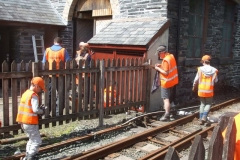 … and between trains, gloss paint has been applied around the area of the S&T Shed and Stable.