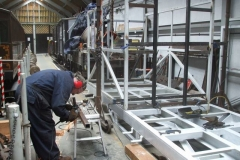 Adrian cuts steel for the vestibule end of the South saloon of carriage No. 24 …