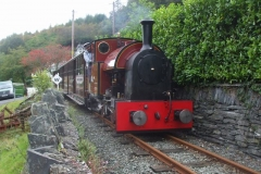… and shortly afterwards, the late running 12.40 ex. Maespoeth, breasts the bank into Corris ...