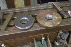 Tuesday, 1.10.2019. Bob has been turning up spacers to reduce side-travel of the wheelsets on the new Heritage waggon …