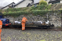 After unpacking, all the rail fixings have been loaded onto the waggon, being carried across the car park from where they had been dropped by the courier.  These have been taken down the line and stored ready for the new track being laid into Corris Station.