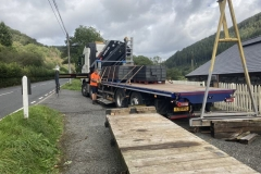 Friday, 1.10.2021. Arrival of 100 Plastic Composite sleepers, to be used on the approach into Corris Station which has very restricted access for sleeper replacement.  These are the same as the sleepers being used on the FR and should have a life expectancy of over 40 years.