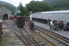 After photographing the passenger train around Corris, the group arrive to photograph No. 7 on a freight train performing run-pasts ...