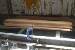 In the meantime, Ian has arrived with the first part consignment of timber floor planks for the P Way van's new floor.