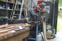 Nearby, Tony is painting Heritage and new waggon parts ...