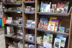Shelves in the museum are all ready for trade and within half an hour  putting some new books on the shelves one was sold (JA)