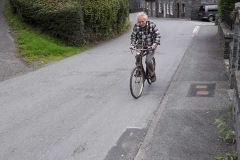 Who do we see coming up the hill doing a tour to Corris - It is Steve on his 1950s push bike.  (JA)