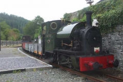 ... and with freight train in tow, arrives at Corris ...