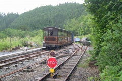 """… and Bob puts the carriages from the Special away, the reason for the """"Stop"""" board in the foreground being obvious!"""