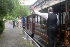 """… while outside, driver Patrick receives the """"Right Away"""" from Controller Charles and Guard Dick for a diesel Special train in conjunction with a school visit to Corris Mine Explorers."""