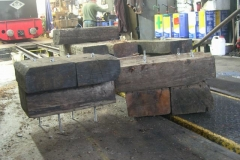 Benches for the point rodding have been assembled in the Engine Shed, out of the rain …