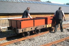 The gravity train was postponed by an hour to avoid the rain, here with the returned waggons being pushed down to the Carriage Shed …