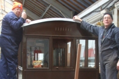 … while Ian and Andy fix the end capping on carriage No. 23.