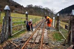 …. Josh and Sam began stripping the accommodation crossing north of Maespoeth north platform of rotten timbers.