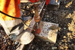 …and then drilled to allow the spikes to unite the rails and sleepers.