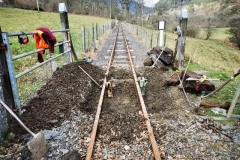 The sleepers removed, the remaining track bed was then dug out to enable the new sleepers to be put in place…