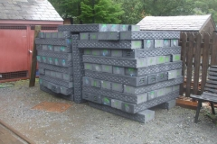 Sunday, 3.10.2021. A good stack of plastic sleepers has been delivered for the Corris Station project ...