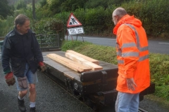 Tony arrives with timber for the frames of a slate slab Heritage Waggon ...