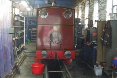 Trefor makes an appearance over the cab of No. 7, while Stevie works inside ...