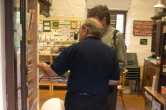 Saturday, 6.9.14. Alf explains our proposals for the reconstruction of Corris station to a Museum visitor …