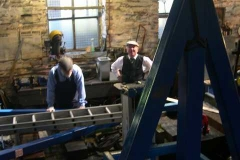 Sunday, 7.9.14. Dick calls into the shed to check progress with the gantry installation.