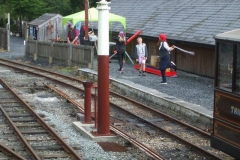 Sunday, 6.8.2017. Jane impresses with her skipping skills as the train awaits its locomotive …