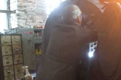 Saturday, 31.7.2021. Trefor and Ifor take it in turns to dismantle inside the smokebox of No. 7 …