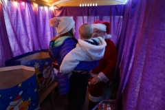 The well loaded first train arrives for children to visit Santa in his grotto …