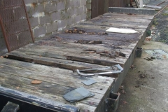 … and emptied the waggon of stored items so that the existing deck can be removed.