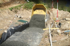 We are rapidly going through MoT Type 1 sub-base as we step up the gabions …