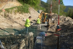 Wednesday, 6.5.2020. Laser levels are checked for the next section of gabions …