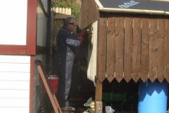 … while John stains the new timber work on the Waggon Shelter.