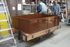 In the Carriage Shed, the body has been placed on the frames of Heritage Waggon No. 5 …