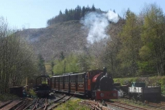 No. 7 soon re-appears with its train on a lovely, sunny morning!