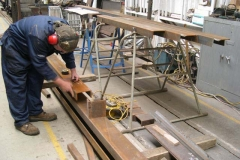 … and Adrian marks out and trims steel for carriage No. 24's frames.