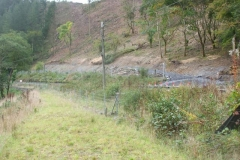 Southern Extension. Wednesday, 26.9.2018. Opposite the Pont y Goedwig Deviation (new) trackbed, a new roadway has been cut into the mountain to assist the cutting and extraction of timber as part of the Bont Evans Treeworks and Soil Stabilisation (BETWS) Project …