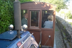 "… and is then joined by Adrian in the train, for a ""last"" ride in carriage No. 20 up to Corris …"