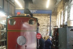 … while No. 7 is being slowly steamed in the Engine Shed with many cleaners …