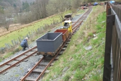 Meanwhile, others practice driving battery electric loco No. 9 in the lower yard …