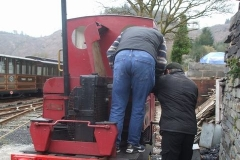 Richard gives Stevie instructions in how to start the engine of loco No. 5 …