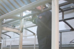 Thursday, 28.3.2019. Ade completes welds on the roof structure of carriage No. 24 …
