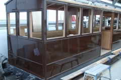 Wednesday, 27.3.2019. Dave has been by, and painted the east and north sides of carriage No. 23's South saloon.