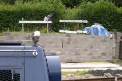 At Maespoeth, while passengers are on their Shed Talk, Trefor continues with the weedkilling.