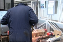 … and Adrian is welding a further coupling for carriage No. 24.