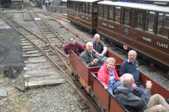 Later in the day, the gravity train brakes to a halt at Maespoeth after its run from Corris.