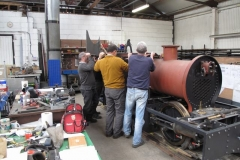 """Thursday, 14.10.2021. A small group visits Alan Keef nr. Ross-on-Wye to view progress of the Falcon locomotive and to """"trial-fit"""" the cab and other components."""