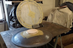 This dollop of car body filler and MDF disc will be useful when machining the centre boss.