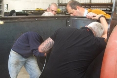 Also delivered were the cab components, with the backsheet being trial fitted by many hands ...
