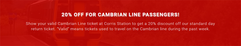 20% OFF for Cambrian Line Passengers!